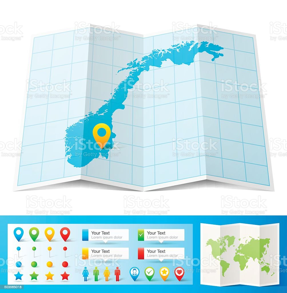 Norway Map with location pins isolated on white Background vector art illustration