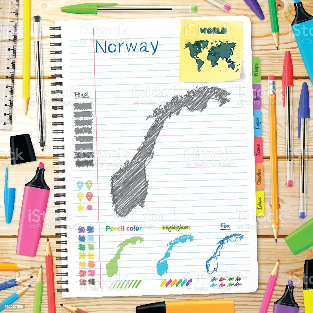 Norway maps hand drawn on notebook. Wooden Background vector art illustration