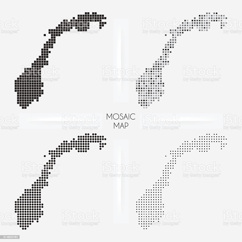 Norway maps - Mosaic squarred and dotted vector art illustration