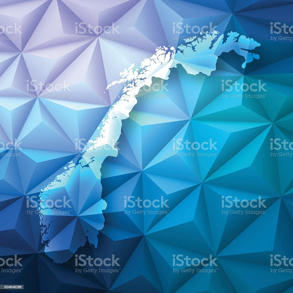Norway on Abstract Polygonal Background - Low Poly, Geometric vector art illustration