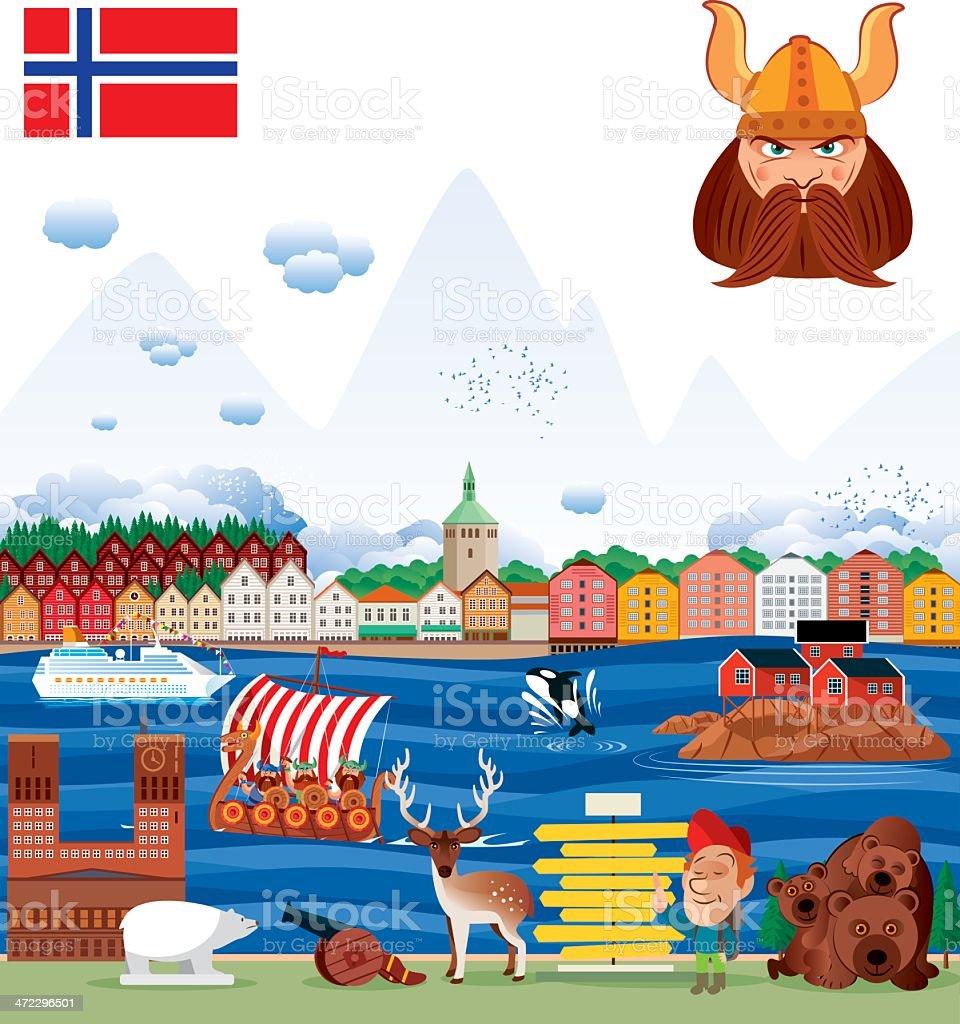 Norway panorama vector art illustration