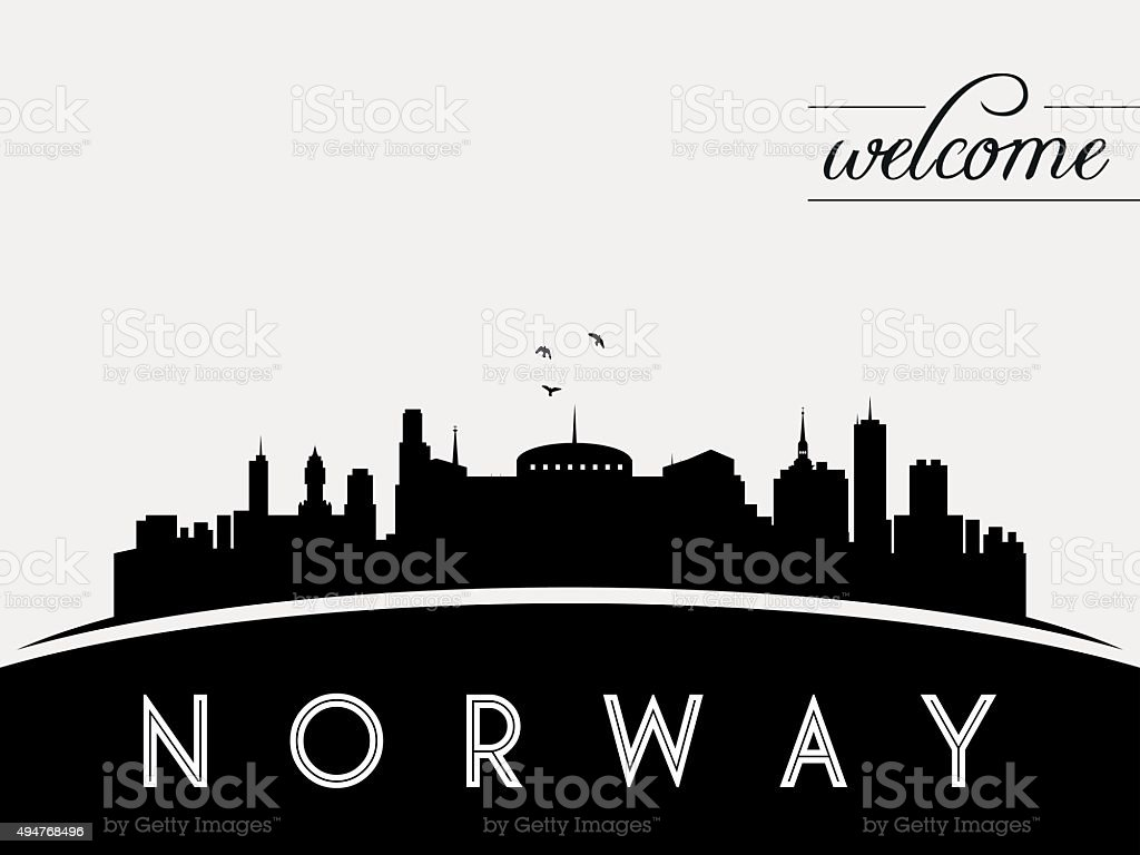 Norway skyline silhouette black vector design vector art illustration