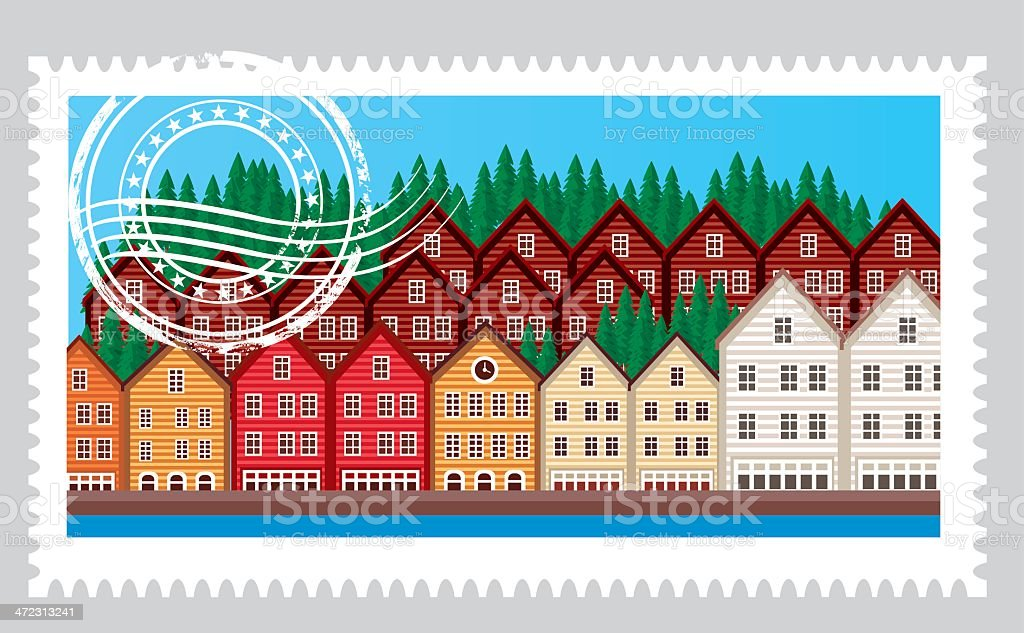 Norway Stamp royalty-free stock vector art