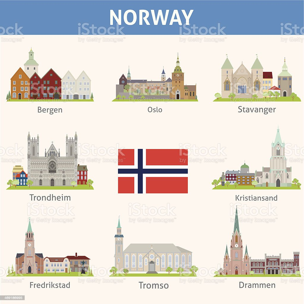 Norway. Symbols of cities vector art illustration