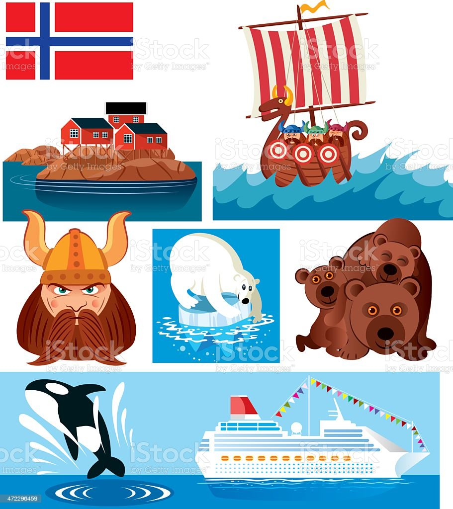 Norway Symbols vector art illustration