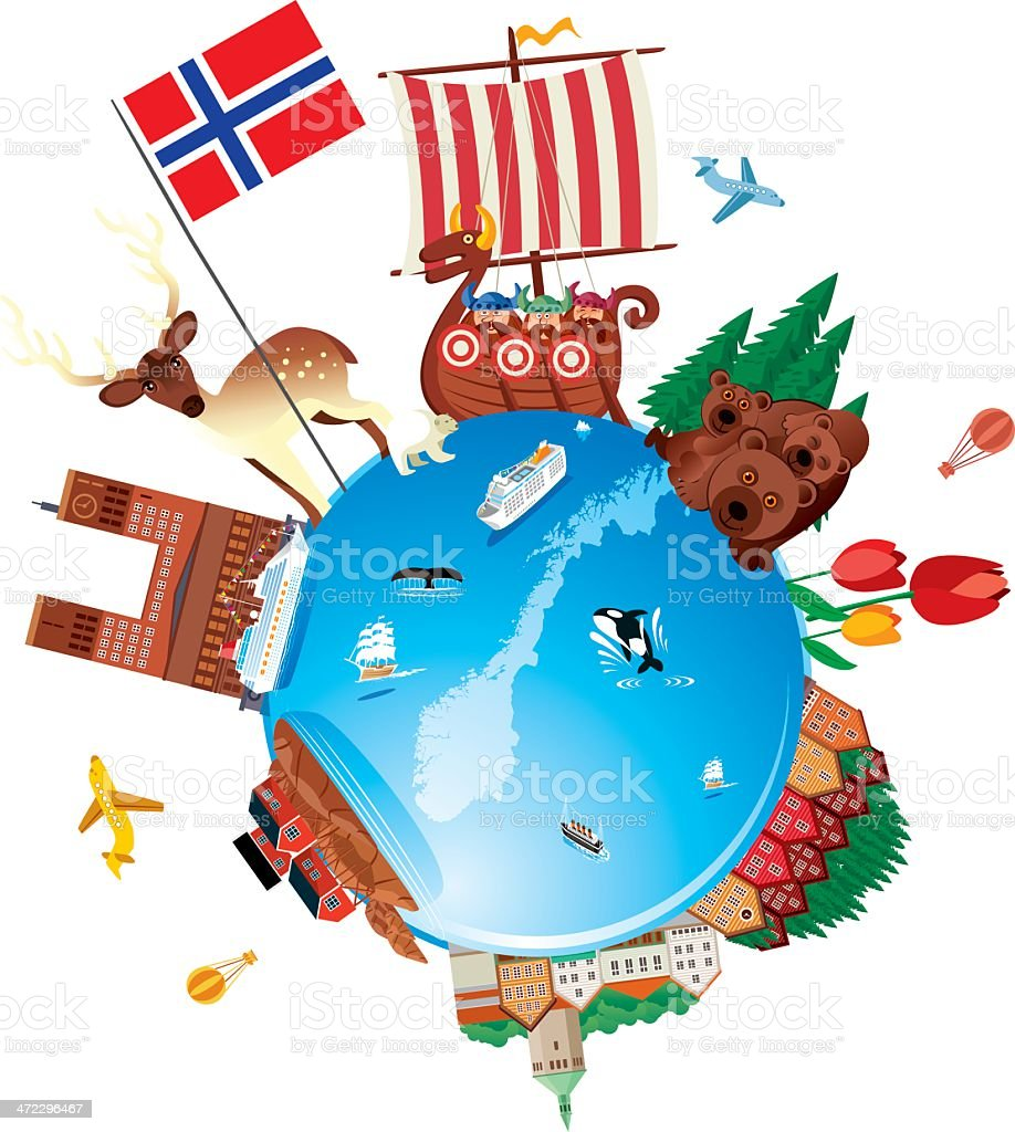 Norway Travel Cartoon vector art illustration