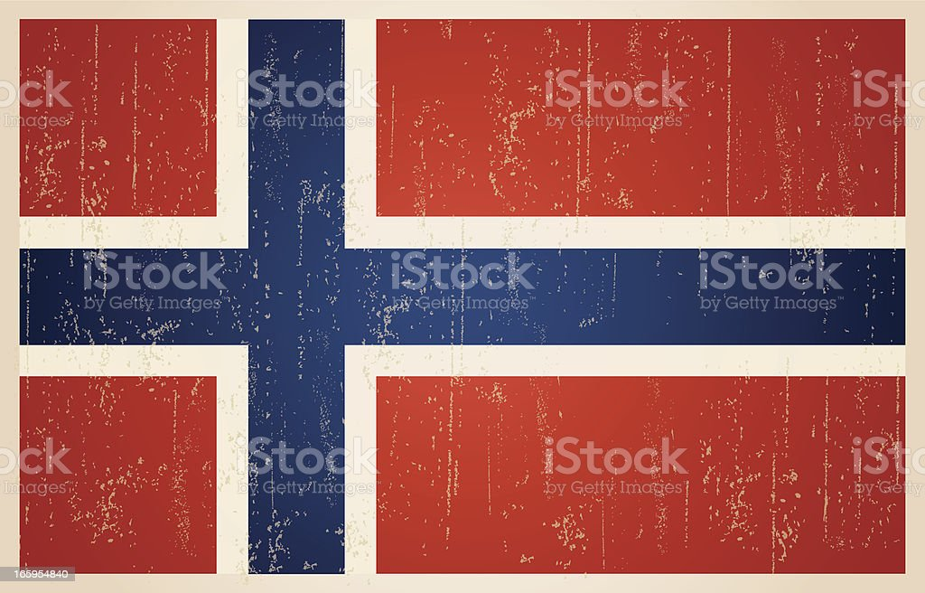 Norwegian flag in grunge and vintage style. royalty-free stock vector art