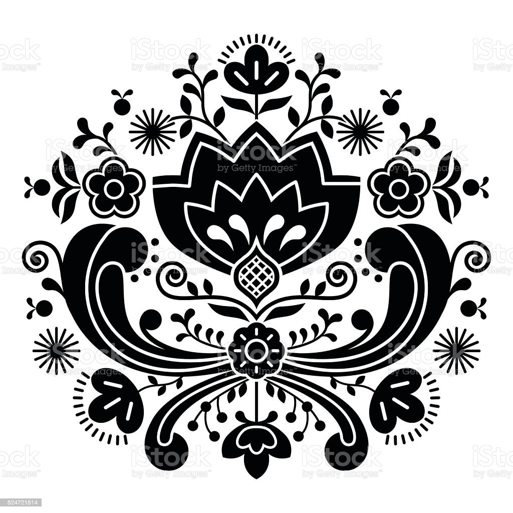 Norwegian folk art Bunad black pattern - Rosemaling style embroidery vector art illustration