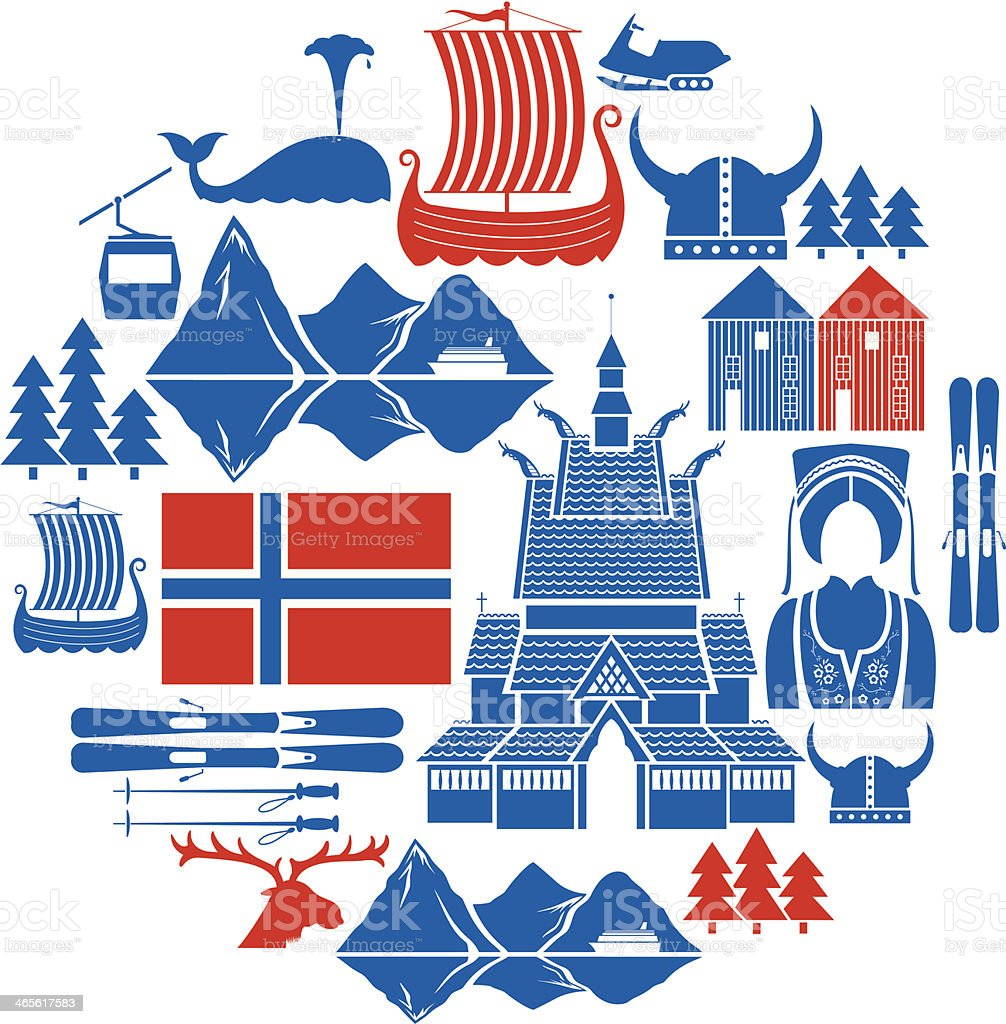 Norwegian Icon Set royalty-free stock vector art
