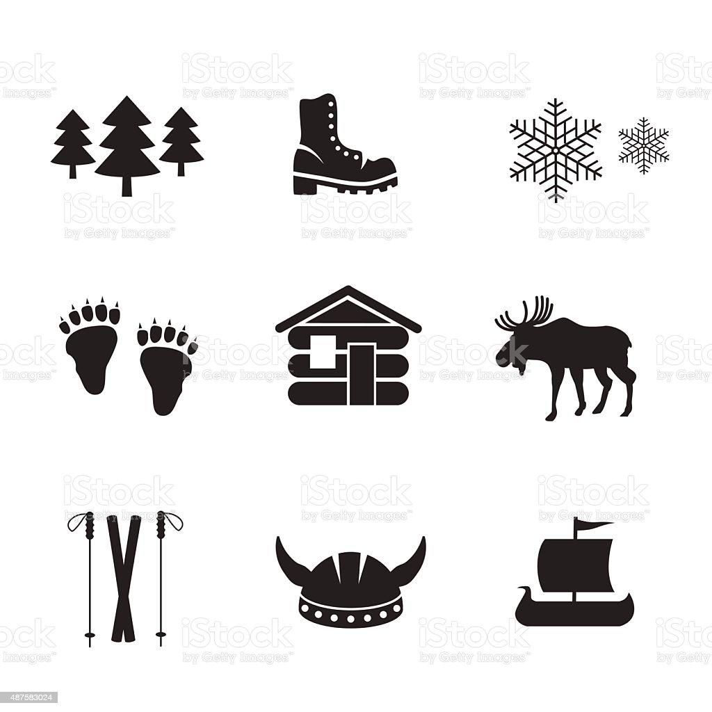 Norwegian icon set. vector art illustration