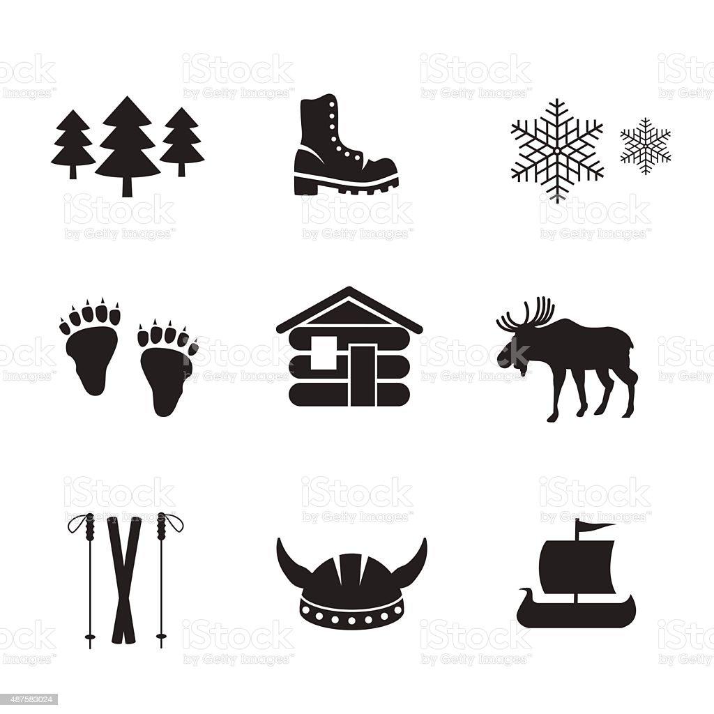 Norwegian icon set. vector art illustration