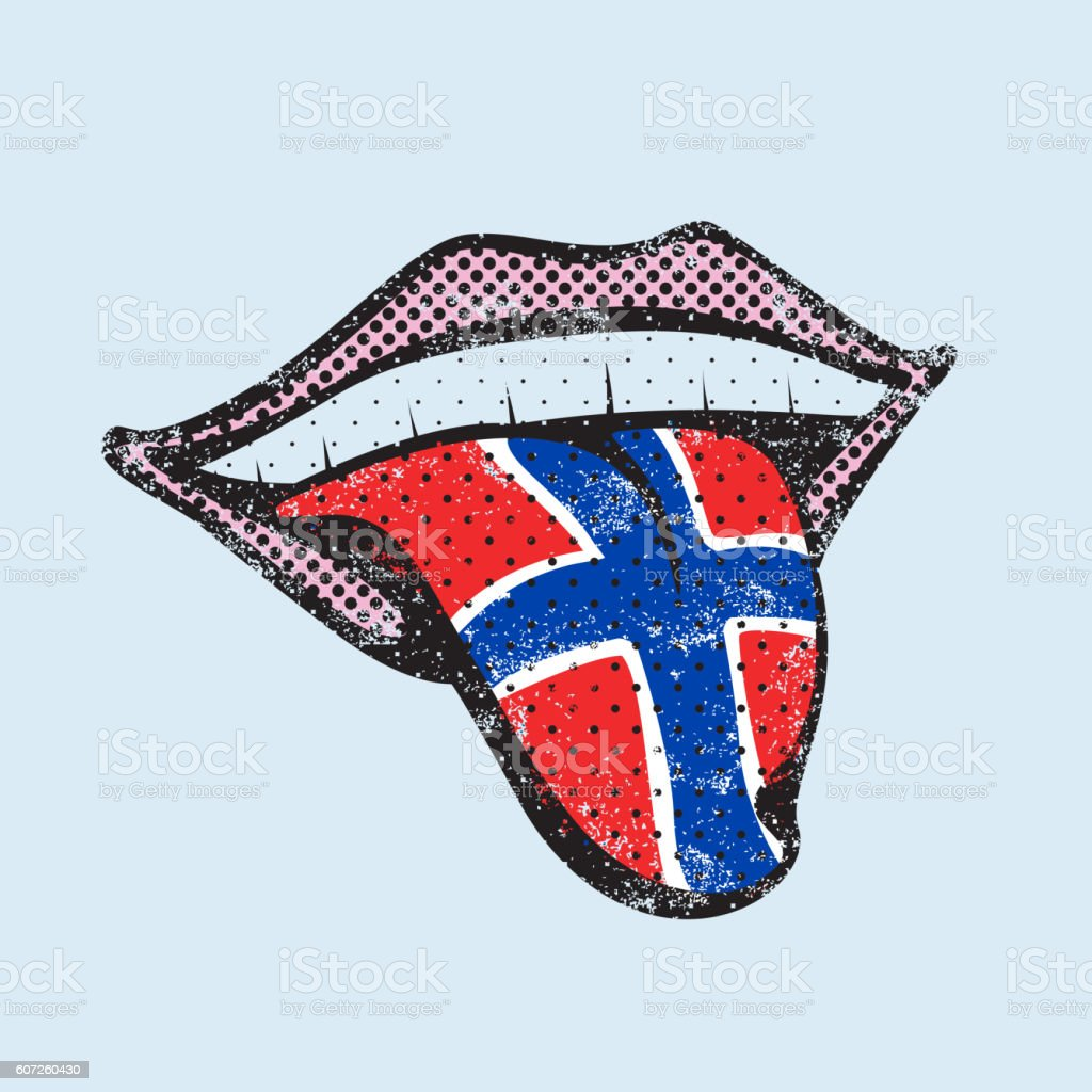 Norwegian language learning tongue icon vector art illustration