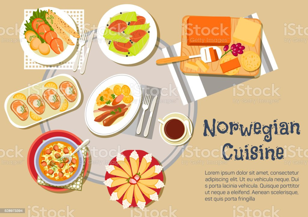 Norwegian traditional Christmas dinner flat icon vector art illustration