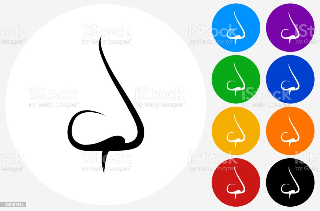 Nose Icon on Flat Color Circle Buttons vector art illustration