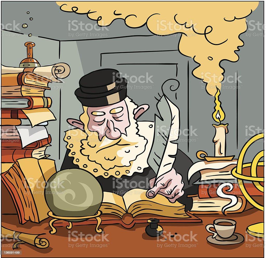 Nostradamus writing the future royalty-free stock vector art