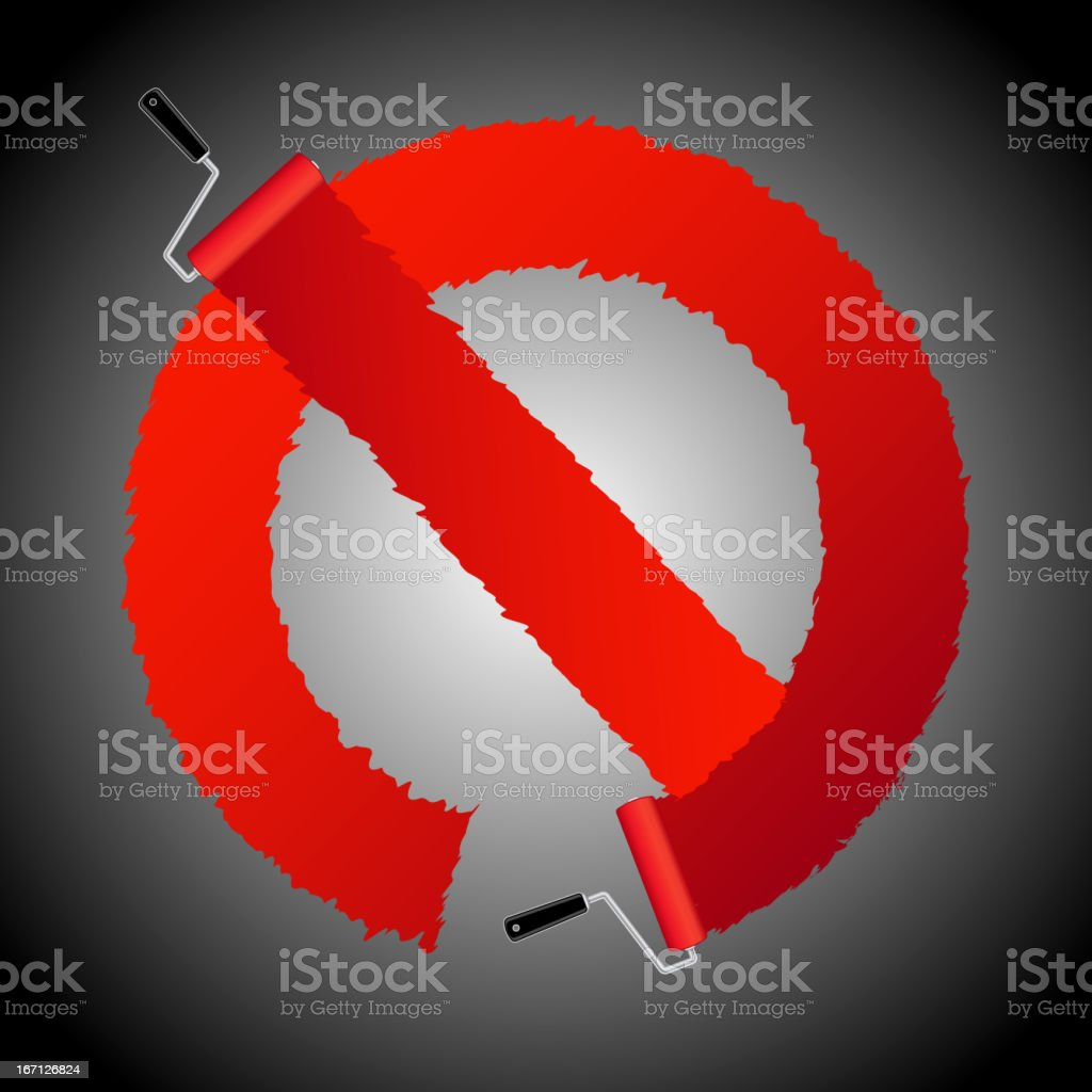 Not allow signl from paint roller brush royalty-free stock vector art