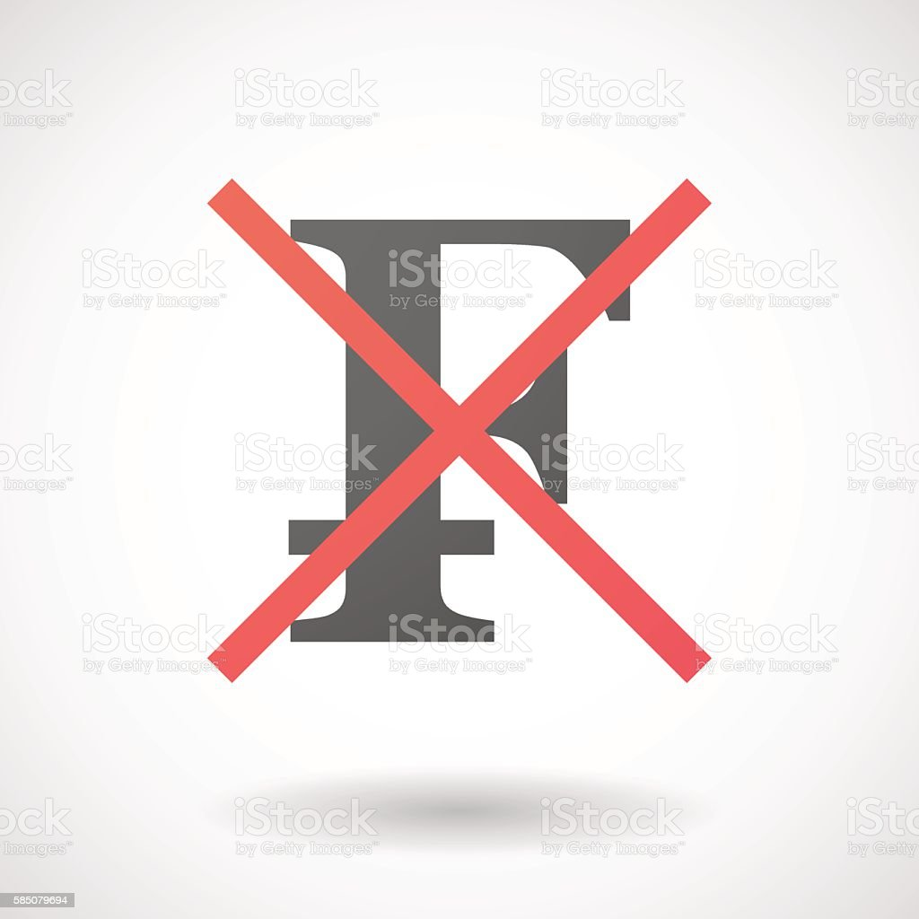 Not allowed icon with a swiss franc sign vector art illustration