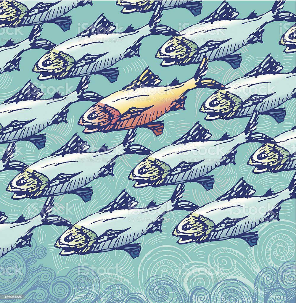 Not just another fish in the sea vector art illustration