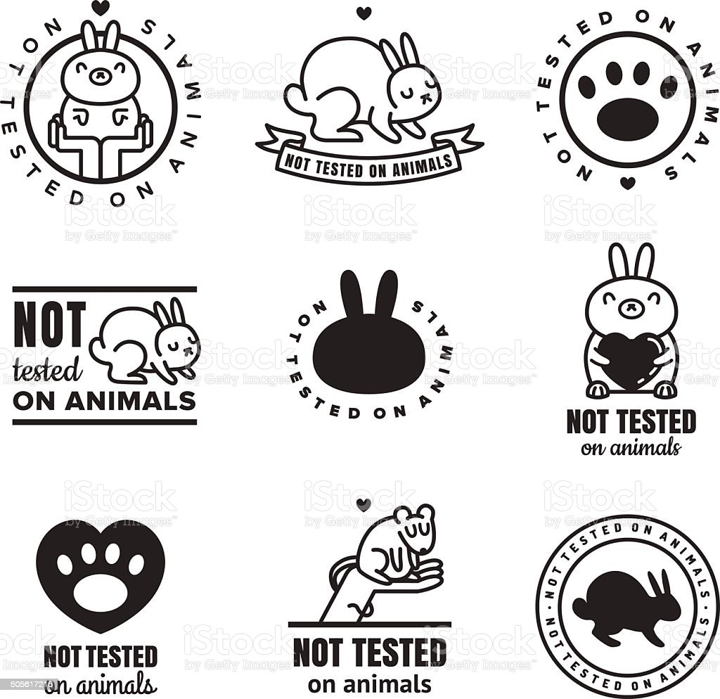 Not tested on animals cute black icons (logos and stickers). vector art illustration