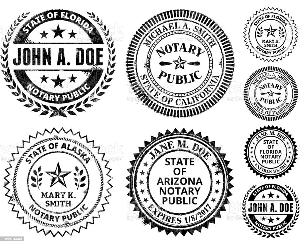 Notary Public Seal Set: Alabama through Georgia royalty-free stock vector art