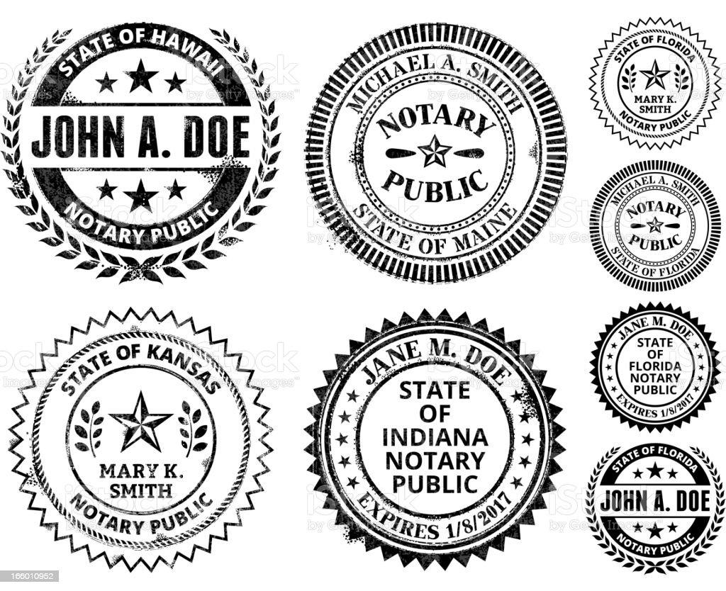 Notary Public Seal Set: Hawaii through Maryland vector art illustration