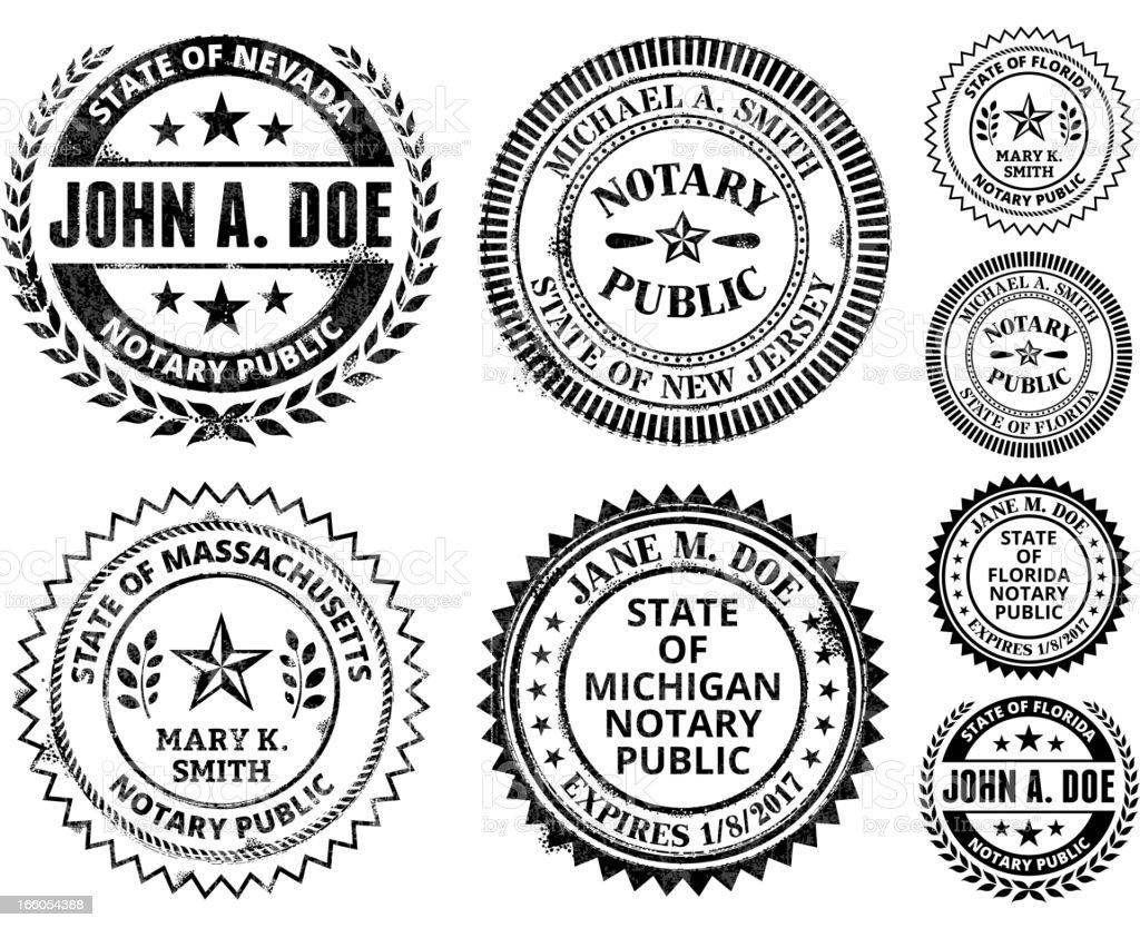 Notary Public Seal Set: Massachusetts through New Jersey royalty-free stock vector art