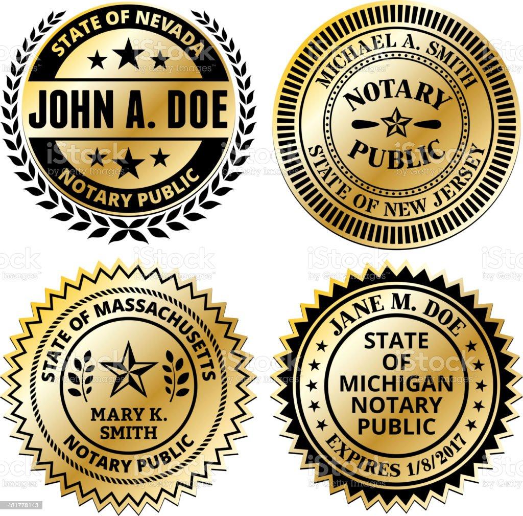 Notary Public Seal Set: Massachusetts through New Jersey vector art illustration