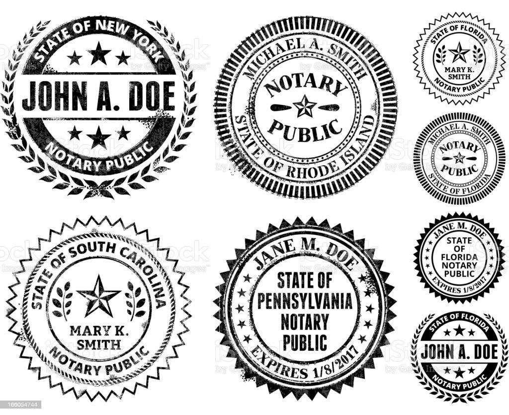 Notary Public Seal Set: New Mexico through South Carolina vector art illustration
