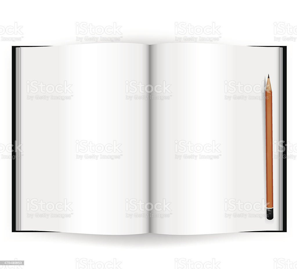 Note book with pencil. royalty-free stock vector art