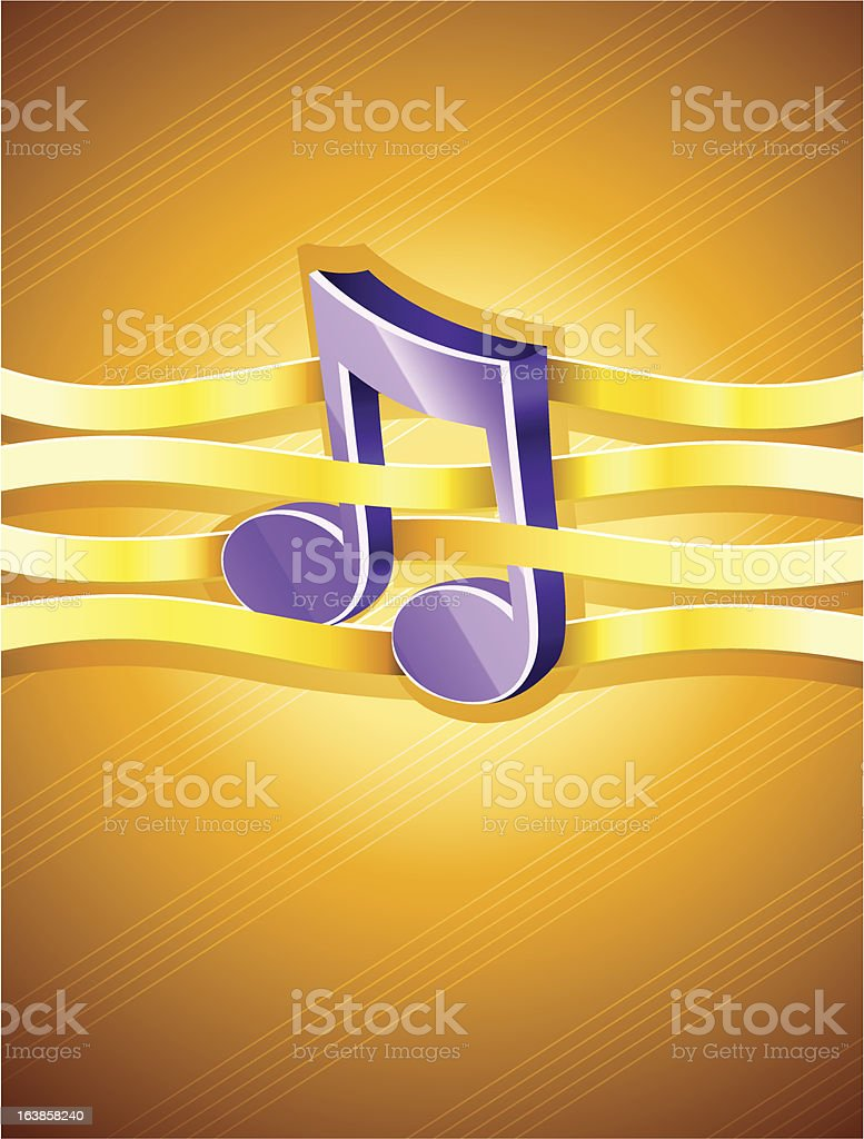 note musical symbol interlaced by gold ribbon royalty-free stock vector art