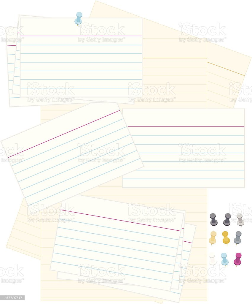 Note or Recipe Cards: Classic White 3x5, Yellow Paper Background vector art illustration