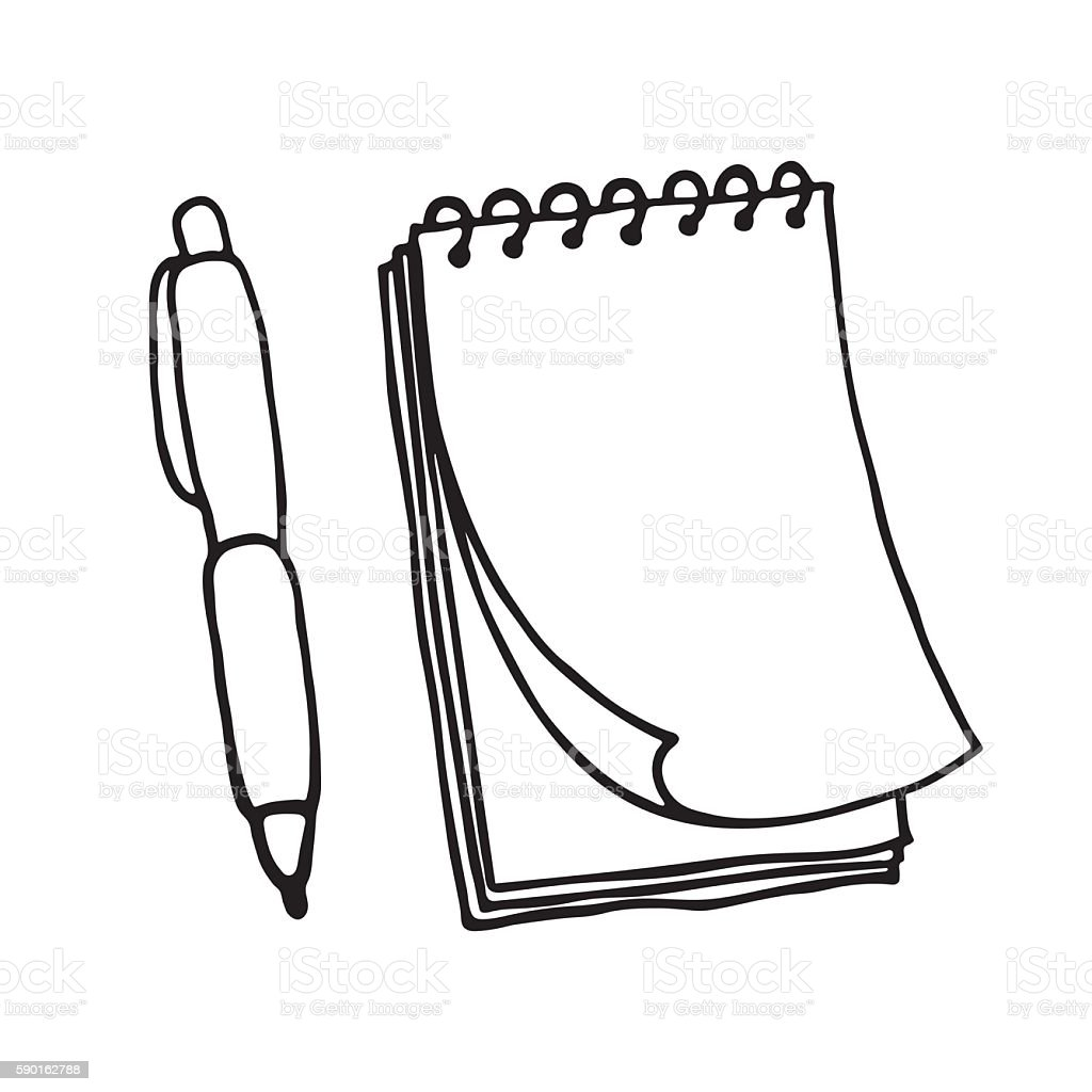Note pad and pen icons. Outlined vector art illustration