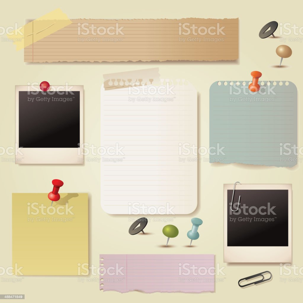 Note paper and pin collection vector art illustration