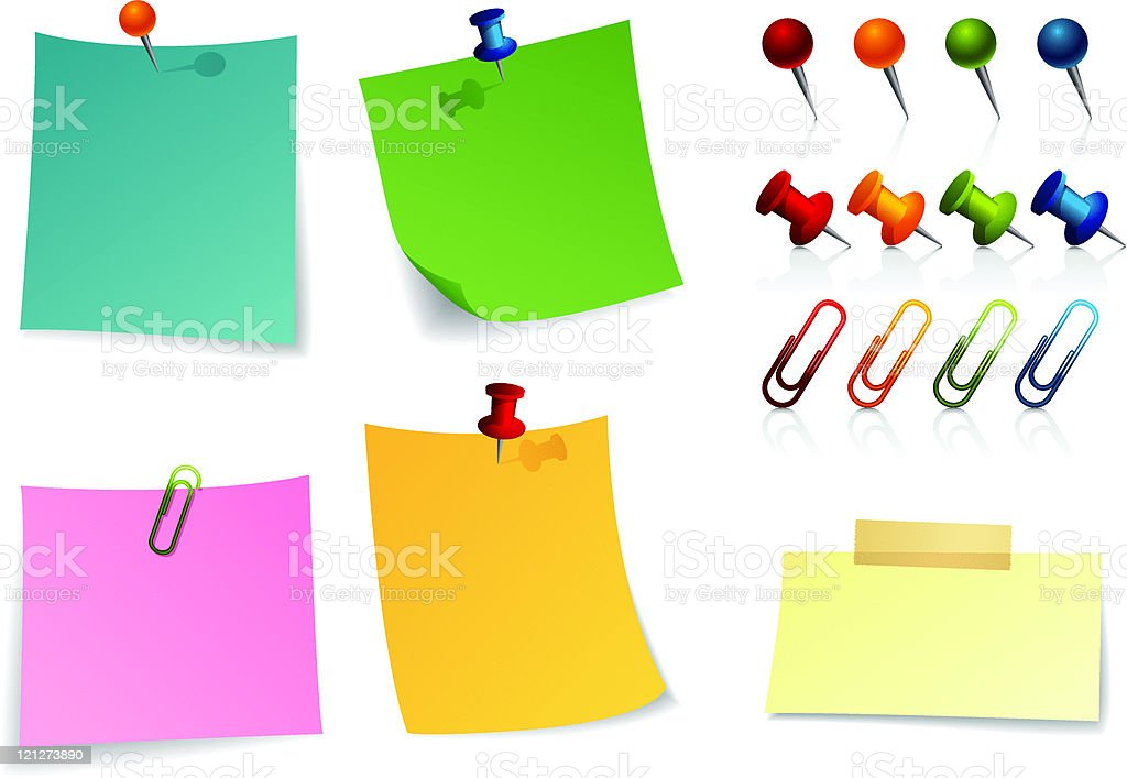 note paper and pins. royalty-free stock vector art