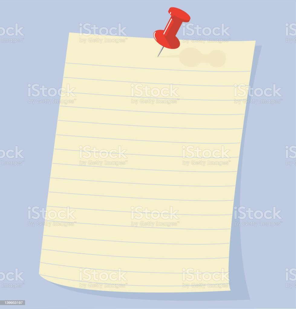 Note Paper held by push pin tack (vector) royalty-free stock vector art