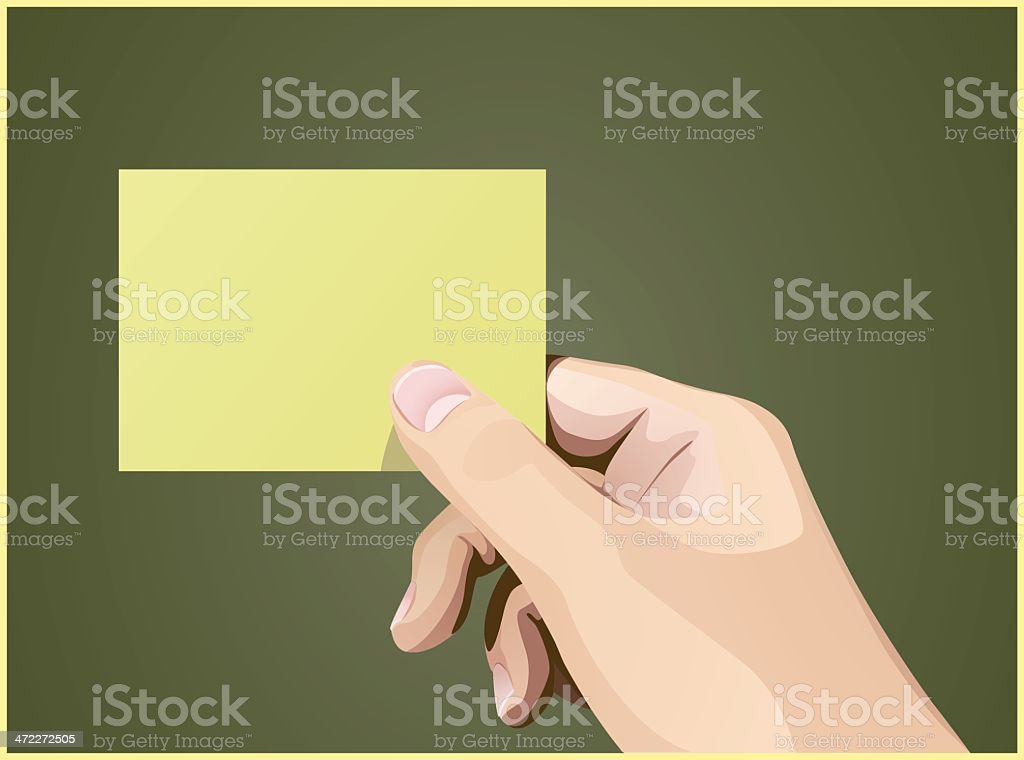 Note Paper in Hand 2 royalty-free stock vector art