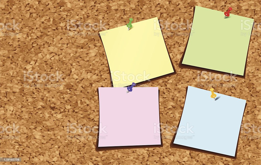 Note Paper on a Corkboard vector art illustration