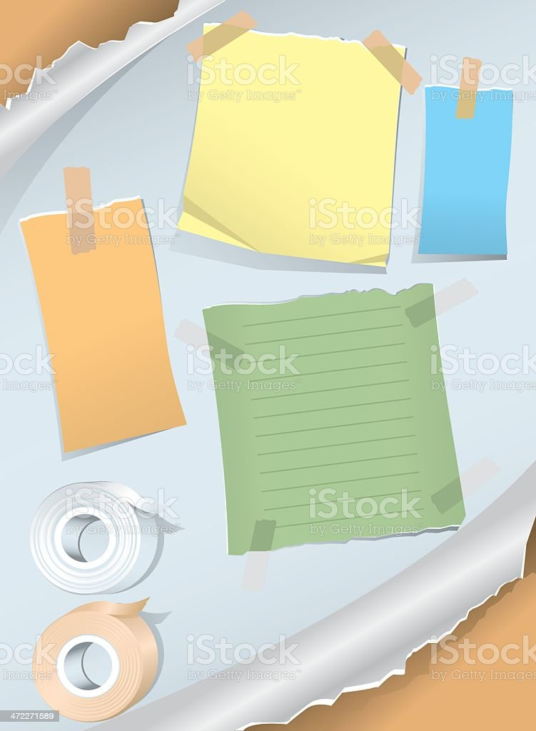 Note Paper Tape Torn vector art illustration