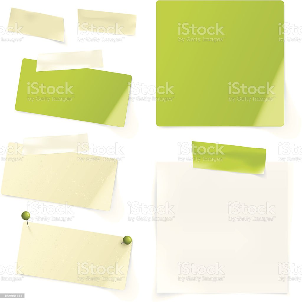 Note paper with tape and pins royalty-free stock vector art