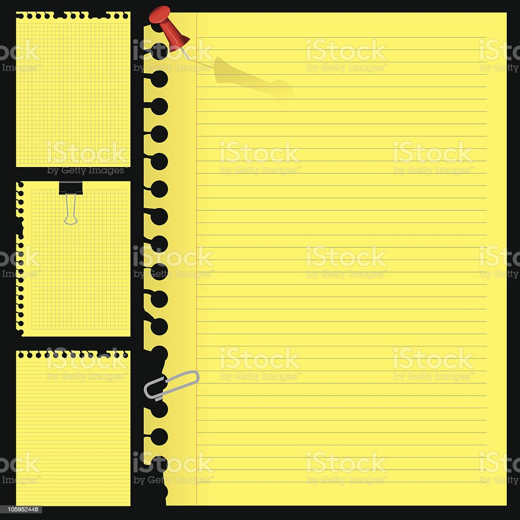 note papers vector art illustration