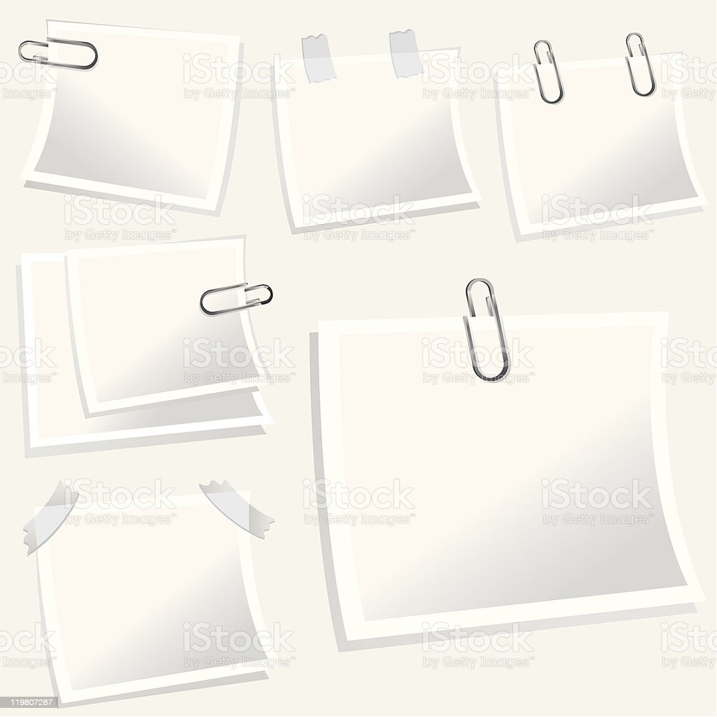 Note Papers With Paper Clips royalty-free stock vector art