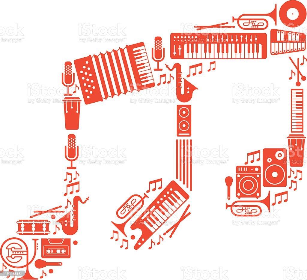 Note sign silhouette. vector art illustration
