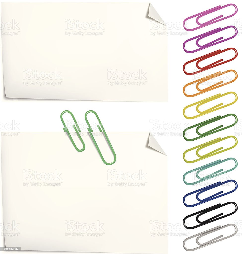 Note with paper clip royalty-free stock vector art