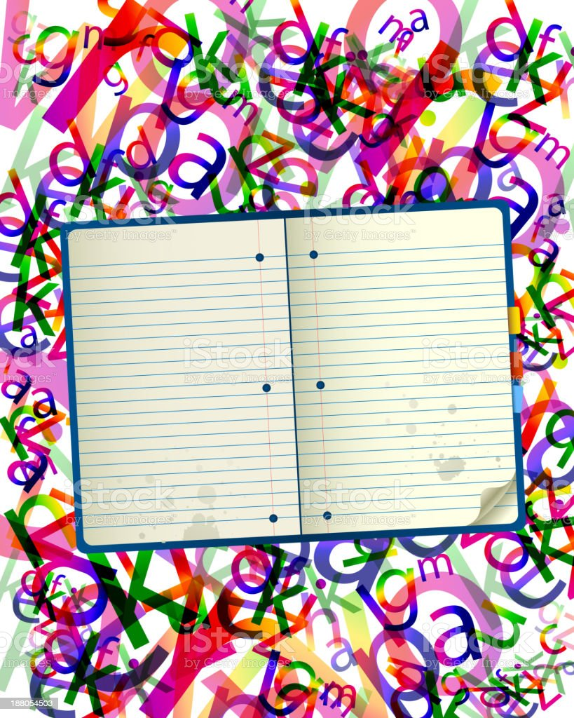 Cuaderno y letras Fondo abstracto de la composición illustracion libre de derechos libre de derechos