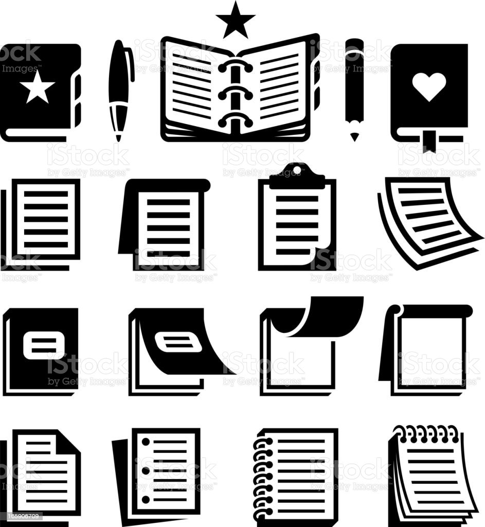 Notebook and Paper black & white vector icon set vector art illustration