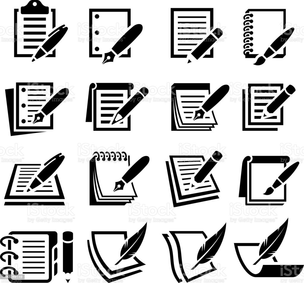 Notebook and Pen black & white vector icon set vector art illustration