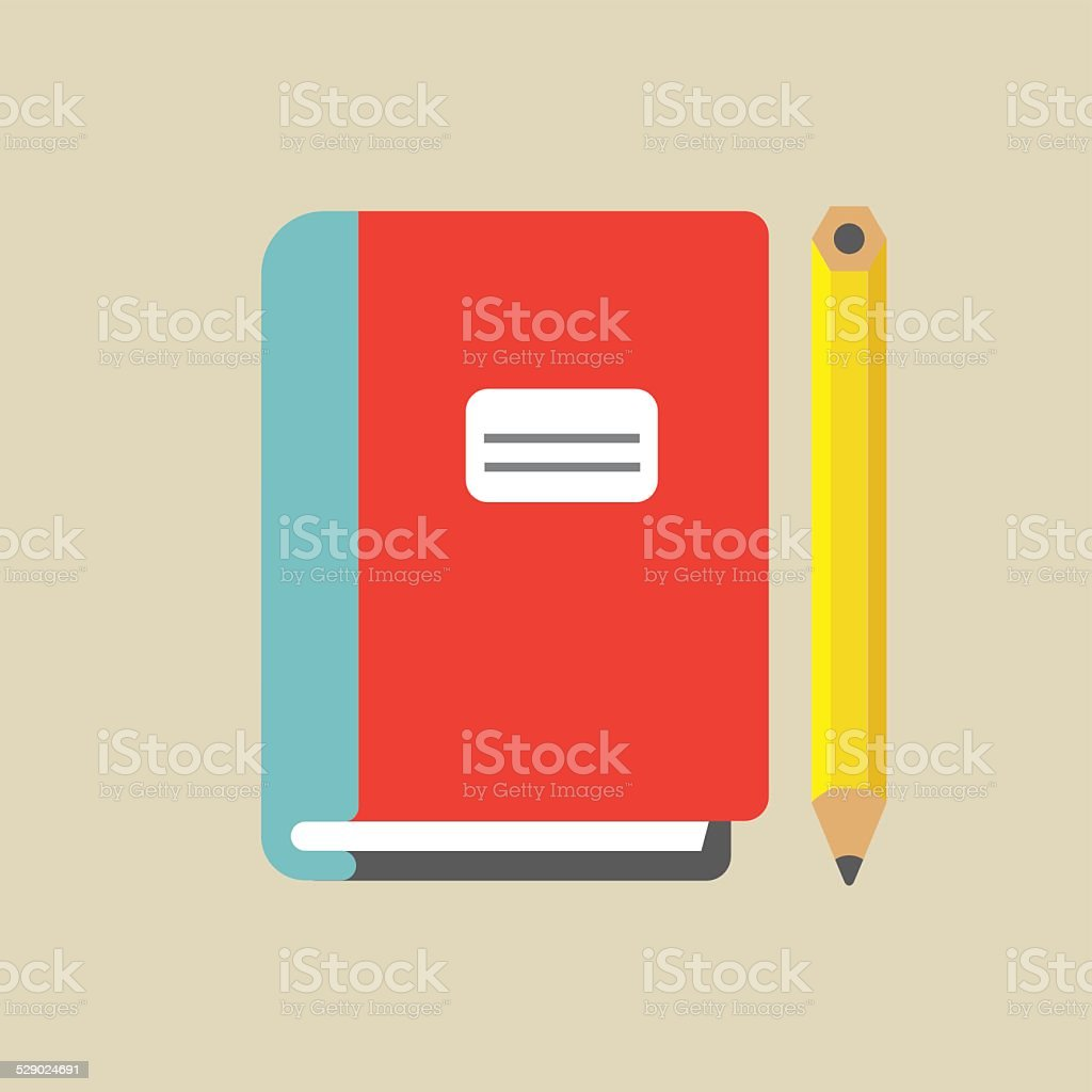 Notebook And Pencil Colored vector art illustration