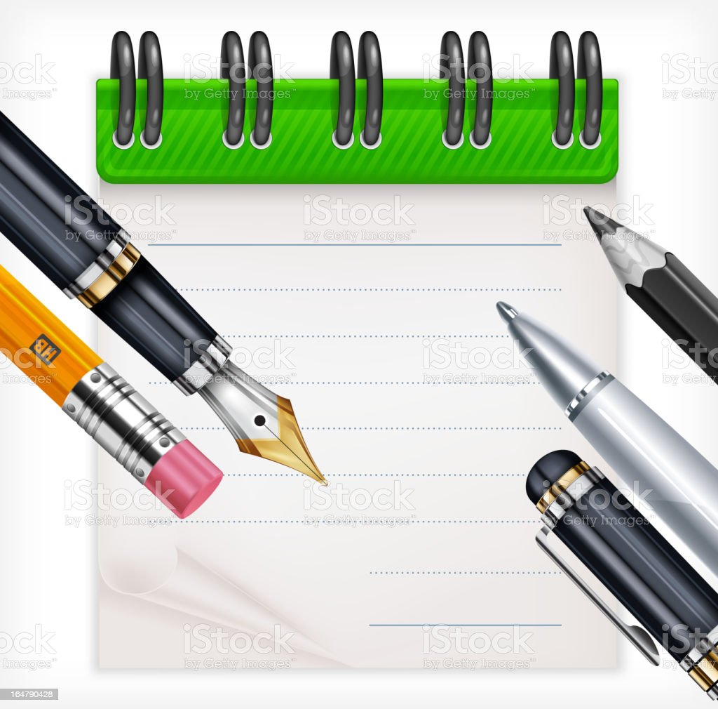 Notebook and writing tools royalty-free stock vector art