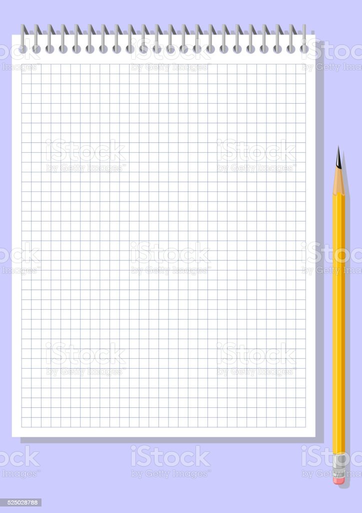 Notebook. Checkered sheet of paper and a pencil vector art illustration