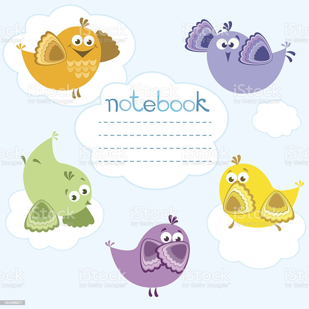 Notebook cover with birds . royalty-free stock vector art
